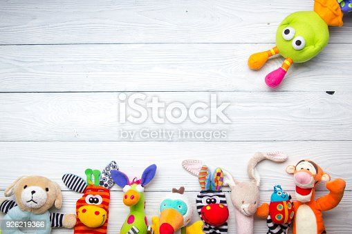 istock Set of colorful Kids toys frame. Copy space for text 926219366