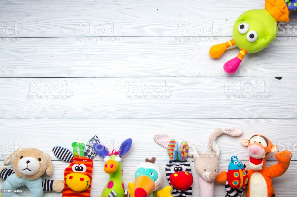 Set of colorful Kids toys frame. Copy space for text stock photo