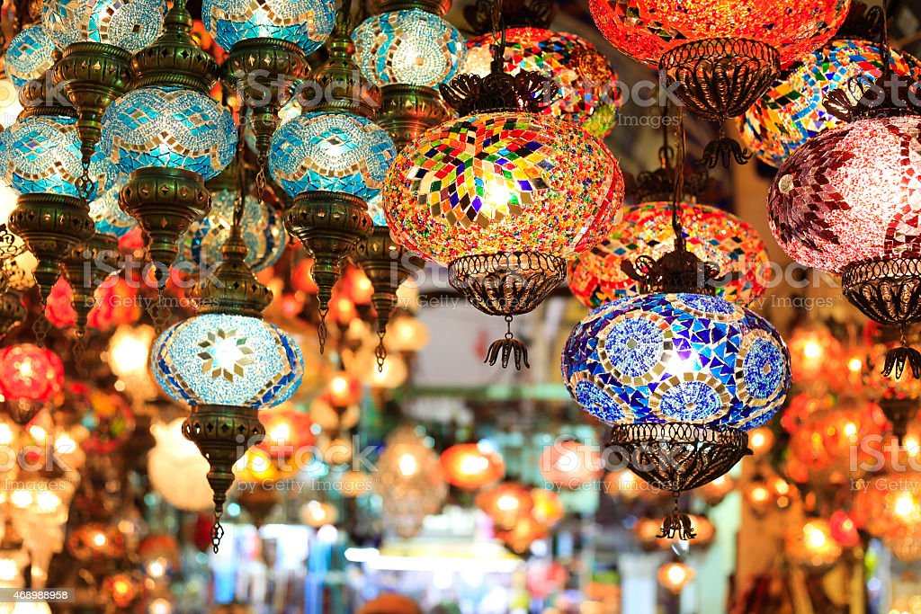 Set of colorful lanterns with oriental patterns at a bazaar stock photo