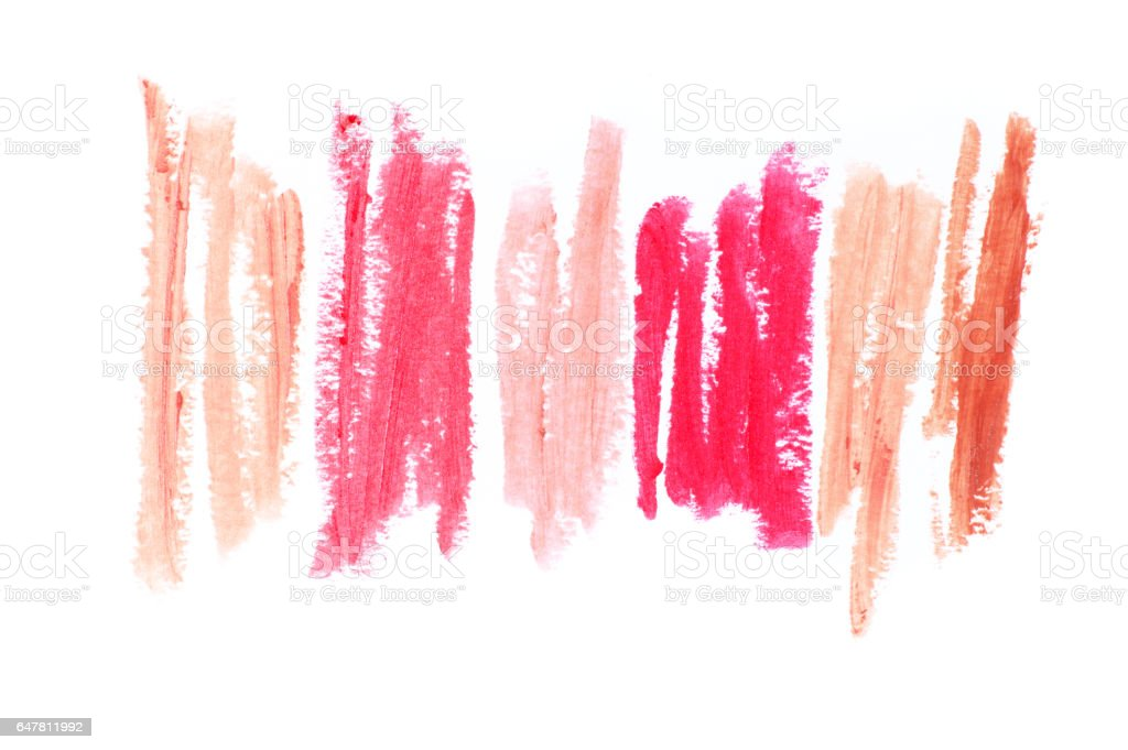 Set of colorful lipstick smears stock photo