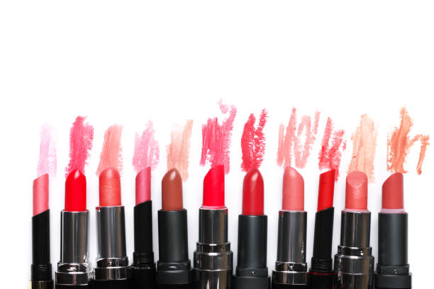 Set of colorful lipsticks stock photo