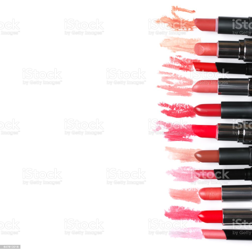 Set of colorful lipsticks stock photo