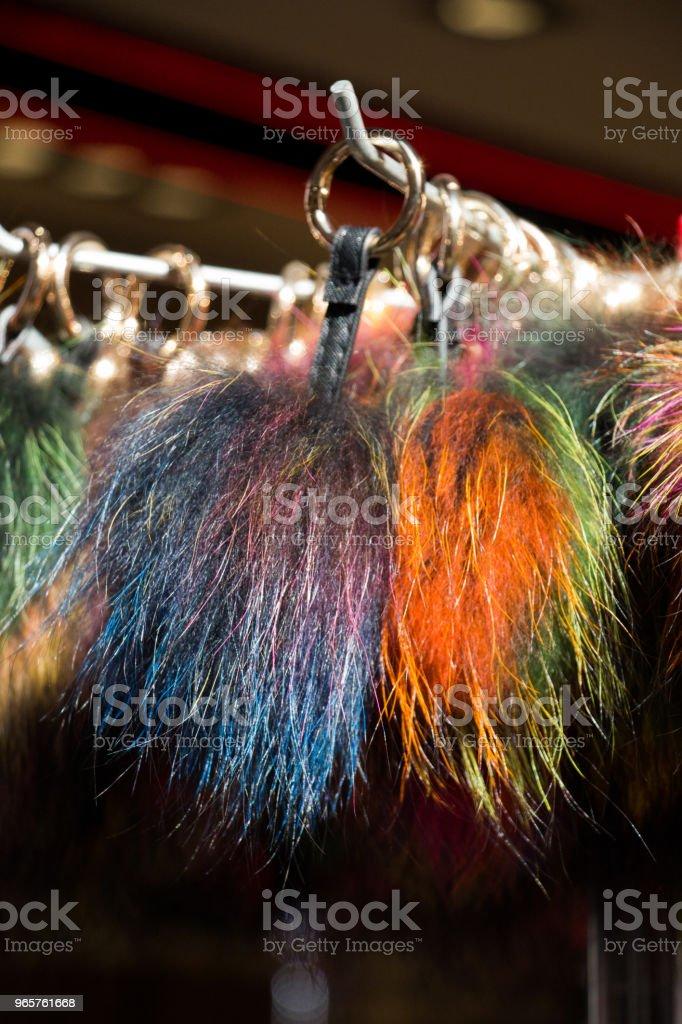 Reeks van kleurrijke pompoms in de bazaar - Royalty-free Decoraties Stockfoto