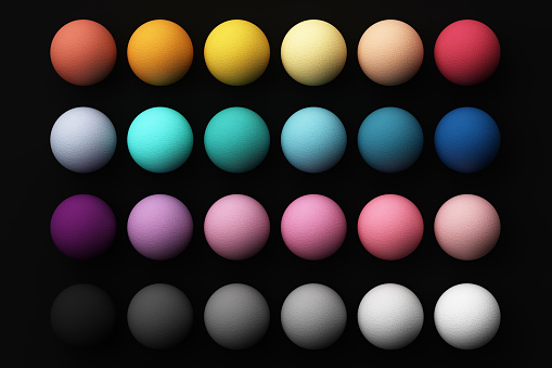 Set of colorful realistic spheres with fabric texture on black background. 3d rendering