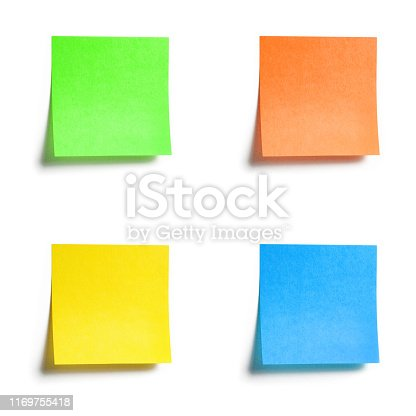 istock Set of colorful sticky notes with shade isolated on white background 1169755418