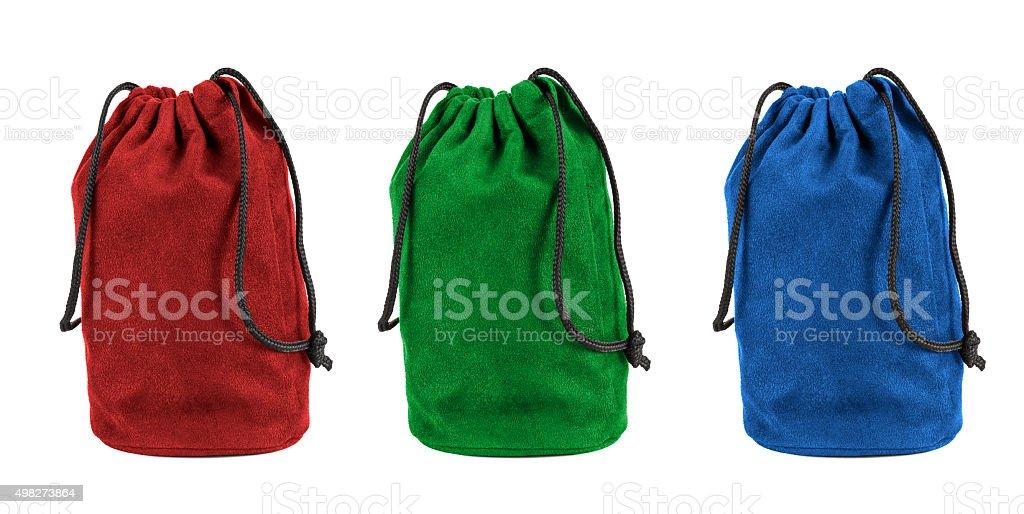 Set of colorful textile sacks on white background stock photo