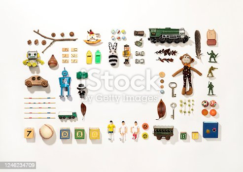 Set of colorful vintage toys on white background