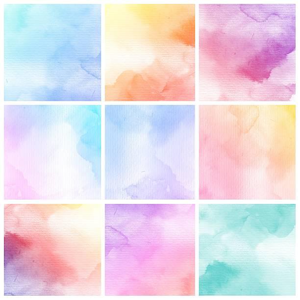 ensemble de peinture de couleur fond de l'eau coloré - dessin au pastel photos et images de collection