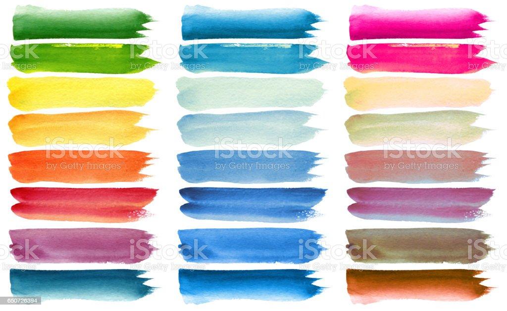 Conjunto de escova de aquarela colorida pinceladas - foto de acervo