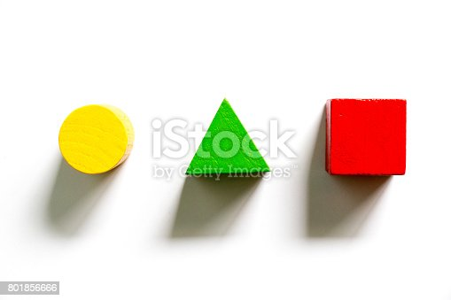 istock Set of colorful wooden shape toy (Square, triangle, round) on white background 801856666