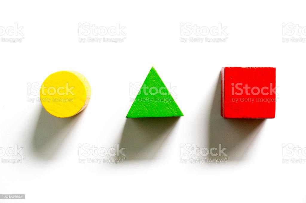 Set of colorful wooden shape toy (Square, triangle, round) on white background stock photo
