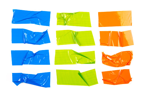 Set of colour  tapes on white background.  - Image