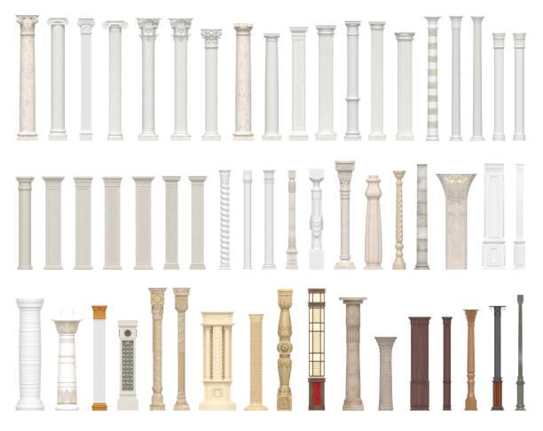 un ensemble de colonnes et piliers de styles différents. mandat d'architecture isolé sur fond blanc. - colonne architecturale photos et images de collection