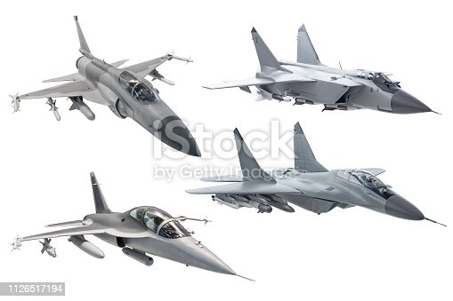 Set of combat military army fighter jet plane isolated on white background