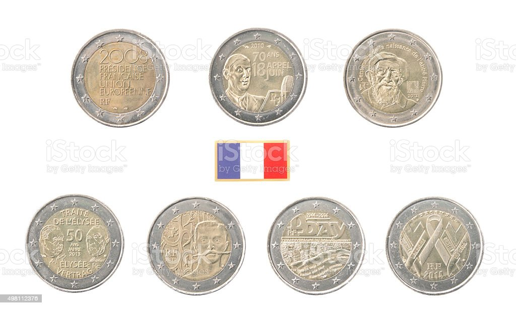 Set of Commemorative 2 euro coins of France stock photo