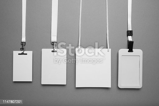 istock Set of conference name card on grey background, tag id mockup 1147807201