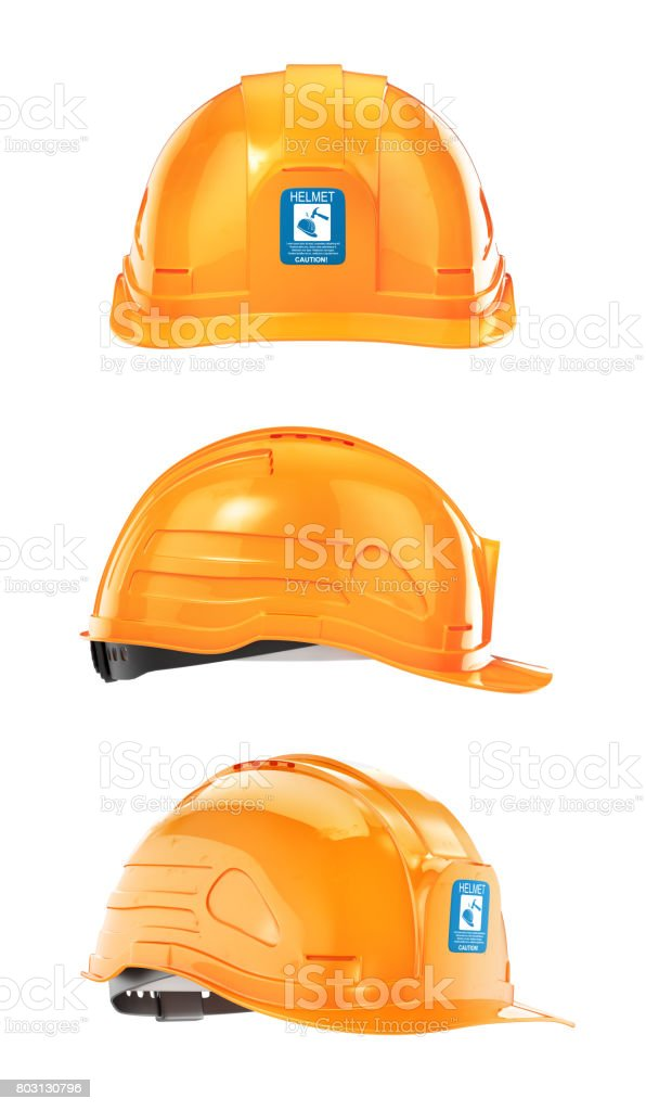 Set of construction Helmet. 3d illustration stock photo