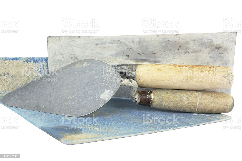 set of construction lute trowels tool stock photo