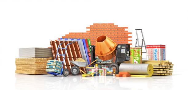 ensemble de matériaux de construction - matériau de construction photos et images de collection