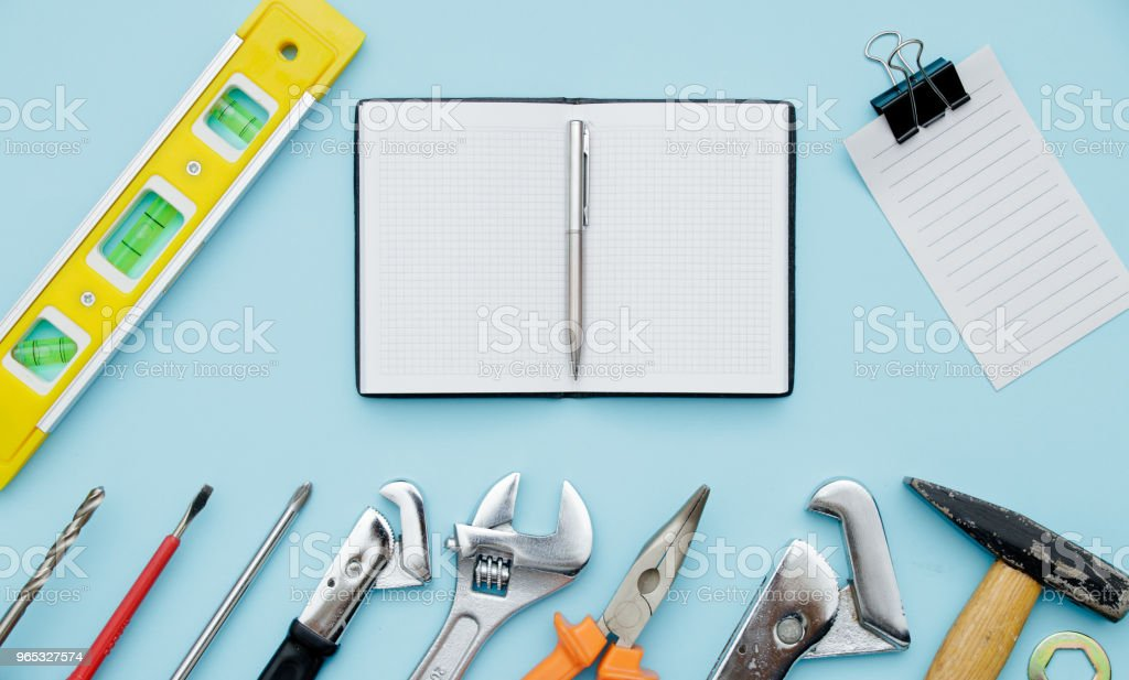 Set of construction tools as wrench, hammer, pliers, socket wrench, spanner, water balance, electric drill, screwdriver. Empty sheet text may happy fathers day celebration zbiór zdjęć royalty-free