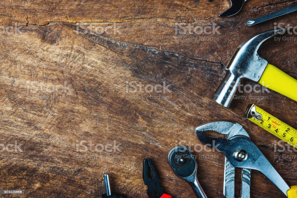 Set Of Construction Tools On Wooden Board As Wrench Hammer ...