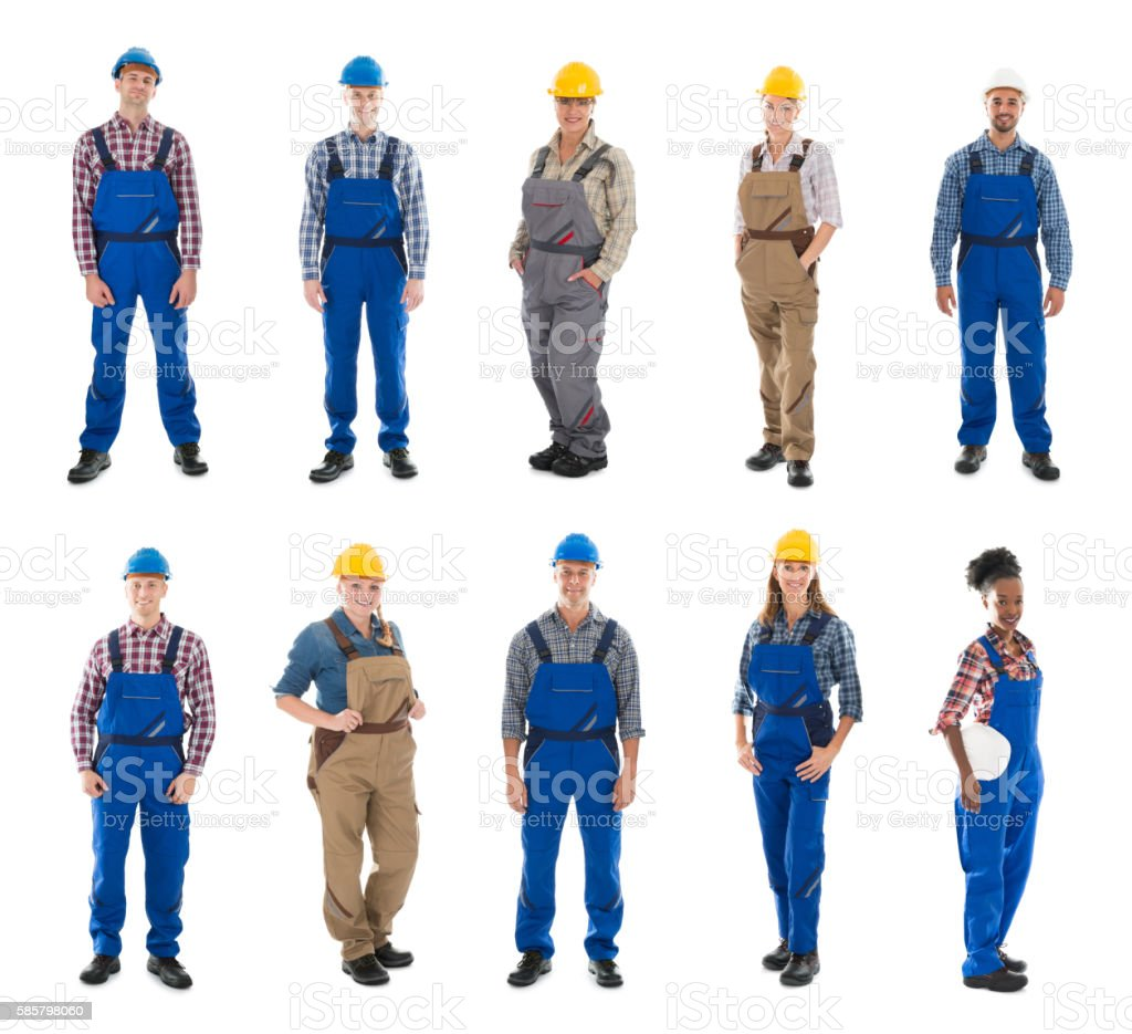 Set Of Construction Workers stock photo