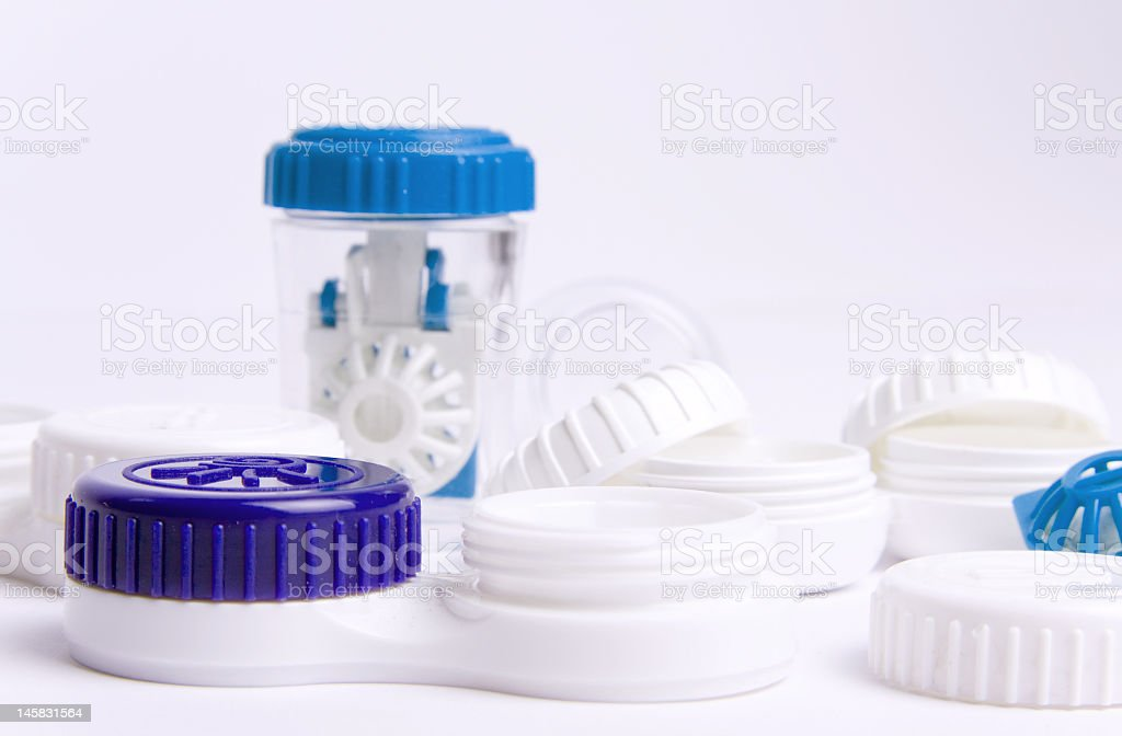 Set of contact lens cases. stock photo