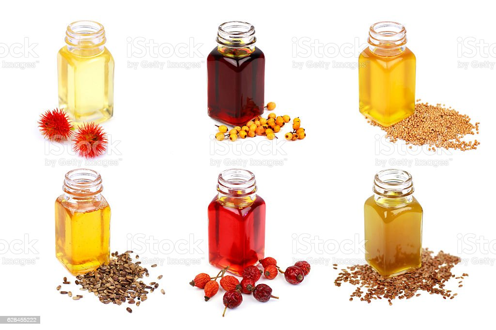 Set of cooking oils isolated on white background stock photo