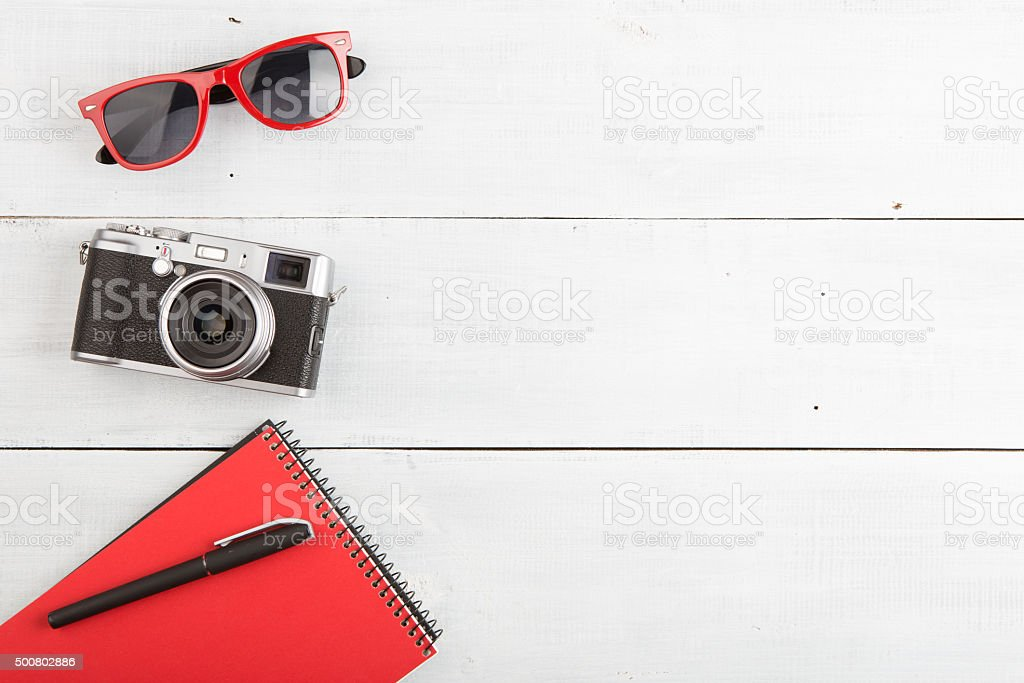 set of cool photography stuff on wooden background stock photo