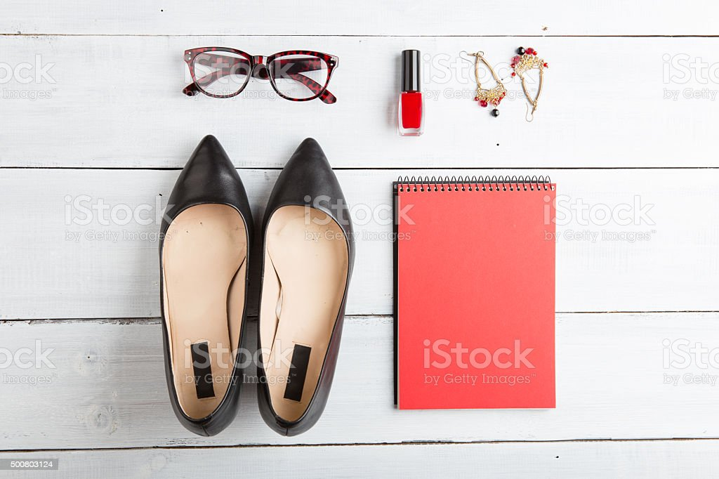 set of cool stuff on wooden background stock photo