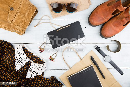 istock set of cool woman stuff and blank signboard 511216744