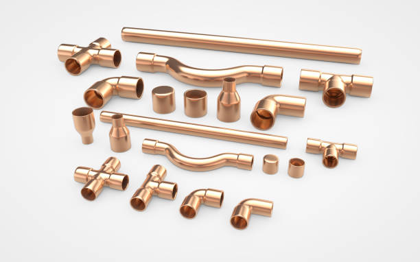 Set of copper pipes fittings. 3d rendering stock photo