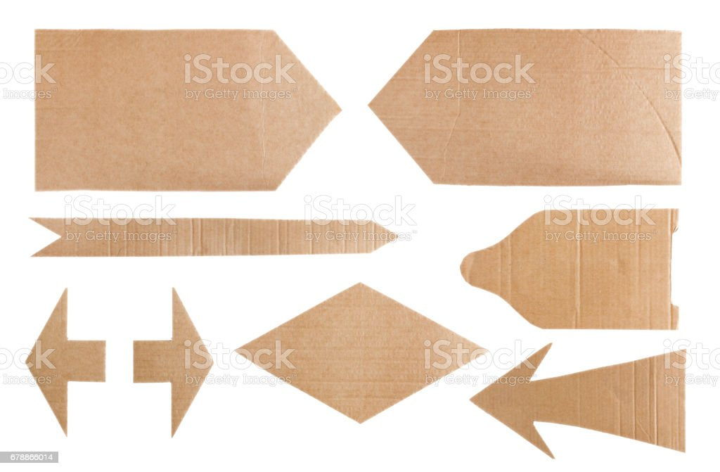 Set of corrugated cardboard pointer photo libre de droits