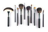 set of cosmetic brush,  High Angle view, fashion and beauty