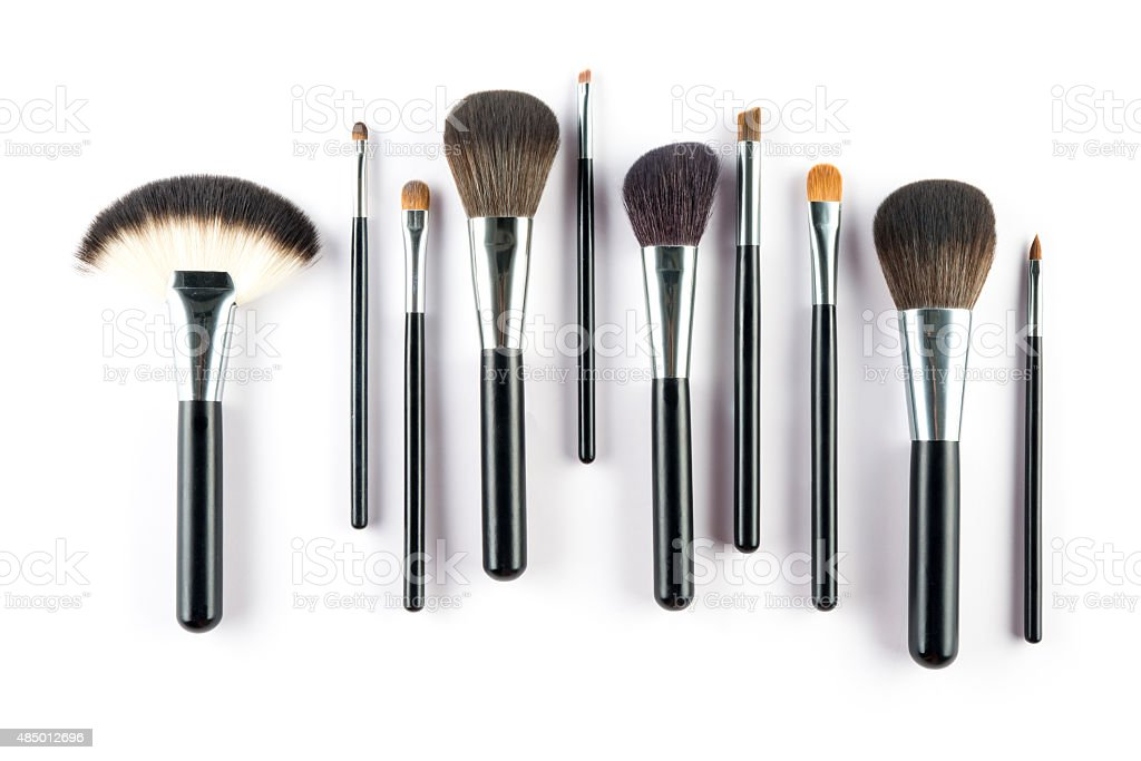 set of cosmetic brush,  High Angle view, fashion and beauty stock photo