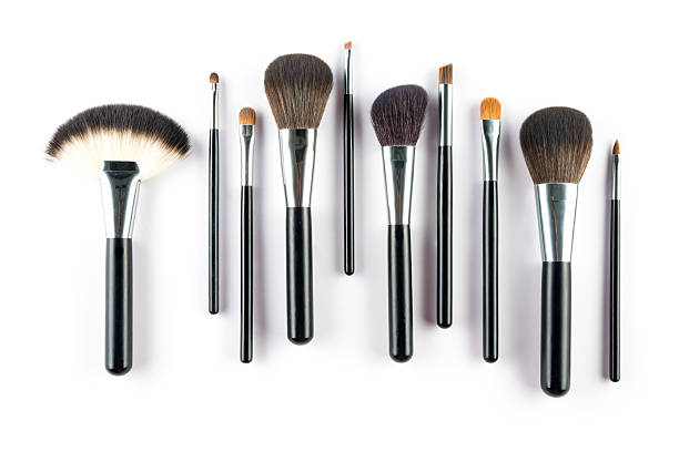 set of cosmetic brush,  High Angle view, fashion and beauty a set of cosmetic brush,  High Angle view, fashion and beauty,  tool set ceremonial make up stock pictures, royalty-free photos & images