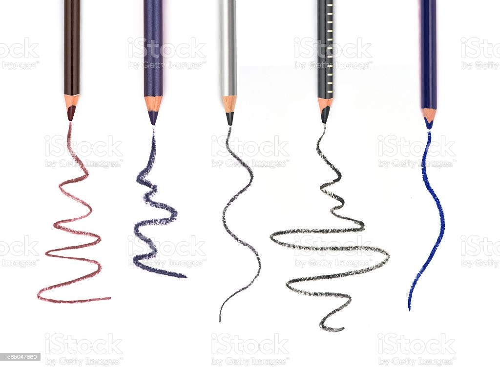 set of Cosmetic pencils and strokes stock photo