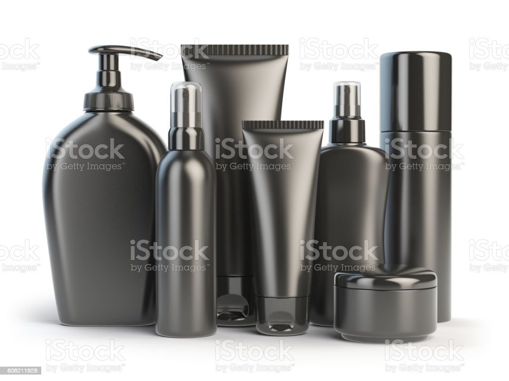 Set of cosmetic products.  Cosmetic series of different daily beauty care products isolated on white background. Black containers for cream, ointment, lotion and soap. stock photo