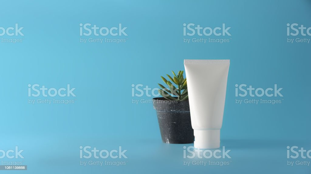 Set of cosmetic products on a color background. Cosmetic package...