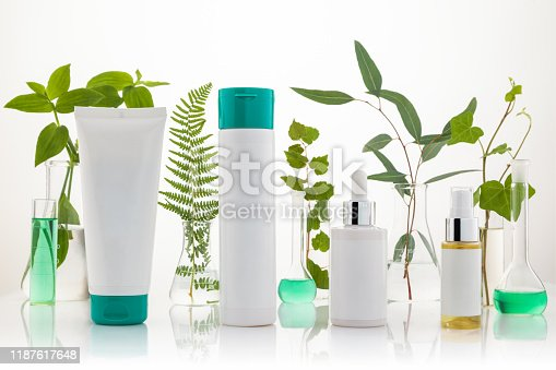 istock Set of cosmetic products standing in laboratory  on white background. 1187617648