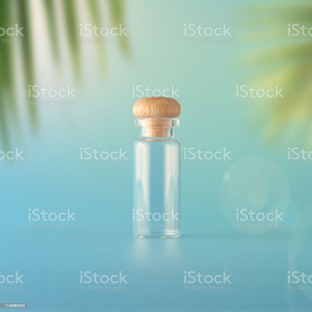 Set of cosmetic sun block on a blue background. Cosmetic package for...