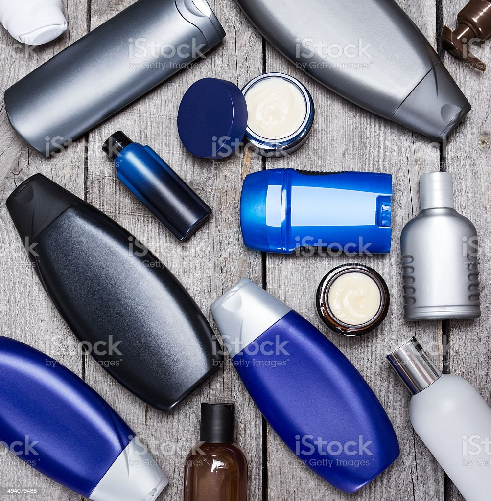 Set of cosmetics for men stock photo