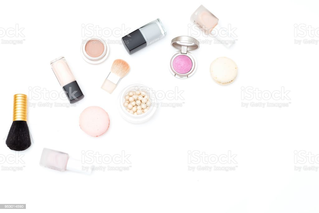 Set of cosmetics on white background. Copy space stock photo