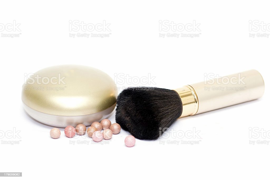Set of cosmetics on white with balls royalty-free stock photo