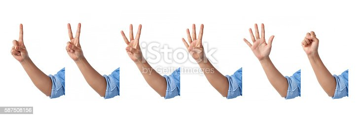 istock set of counting front hands sign in a jean shirt. 587508156