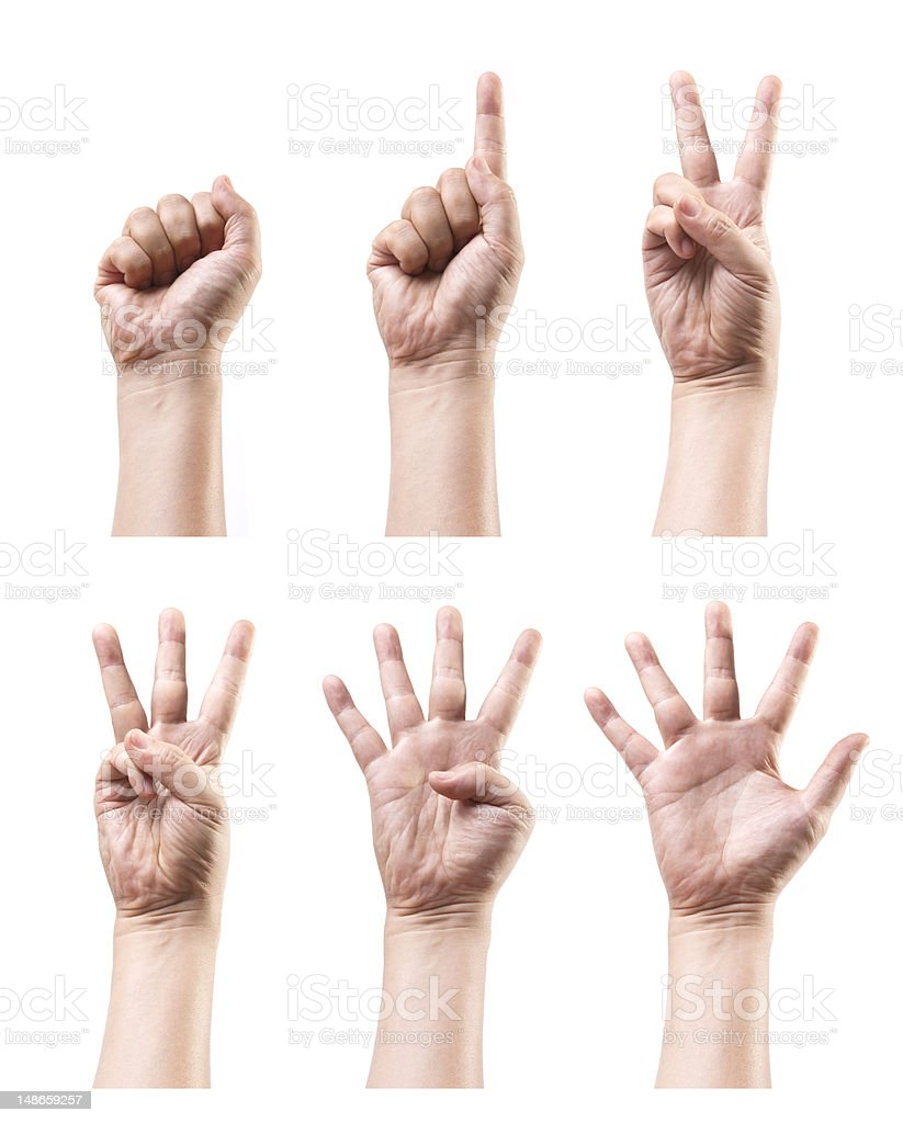 Set of counting hand sign isolated on white royalty-free stock photo