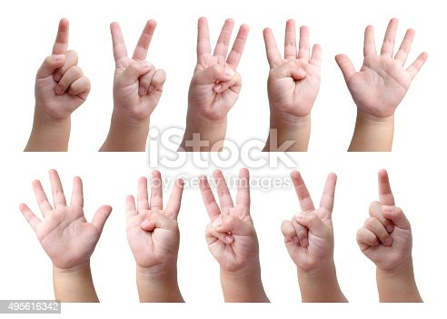 693519466 istock photo Set of counting hand sign of kid isolated on white 495616342