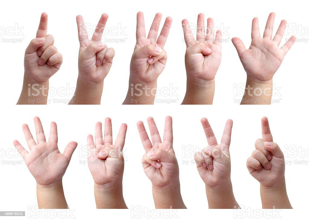 Set of counting hand sign of kid isolated on white stock photo