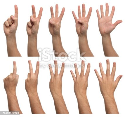 istock Set of counting hands isolated on white background 503947859