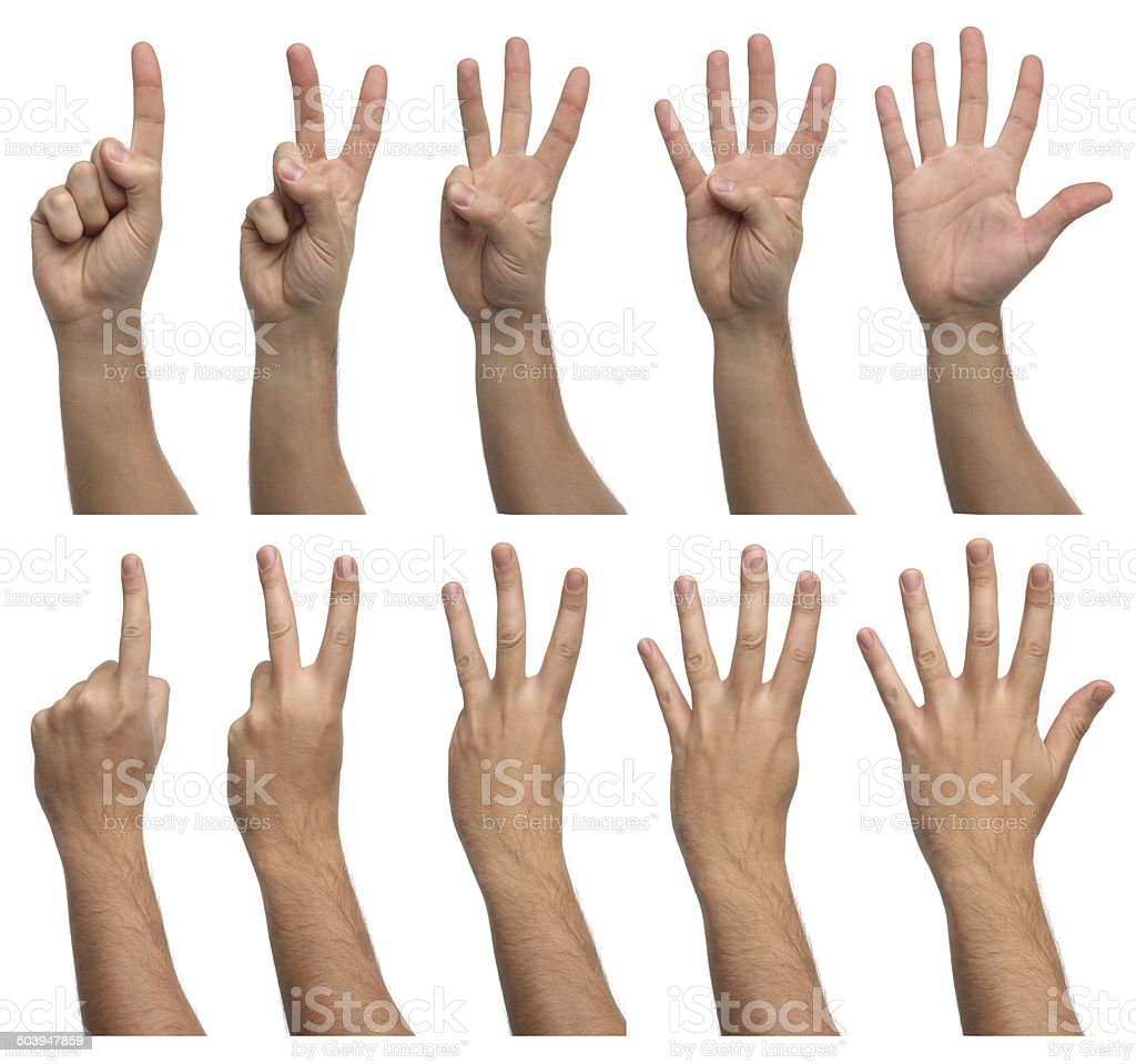 Set of counting hands isolated on white background stock photo